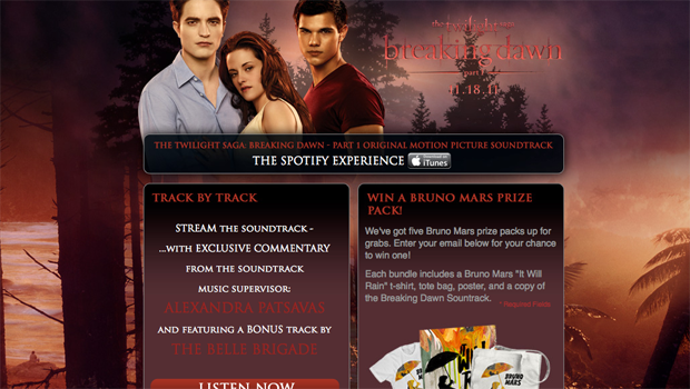 Breaking Dawn Soundtrack Spotify Contest Page