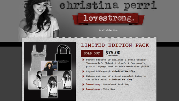 Christina Perri Lovestrong Order Page