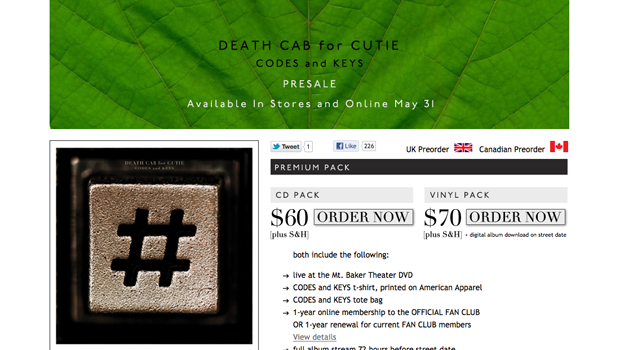 Death Cab for Cutie Pre-Order Page