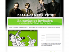 Death Cab for Cutie Spotify Invites Page