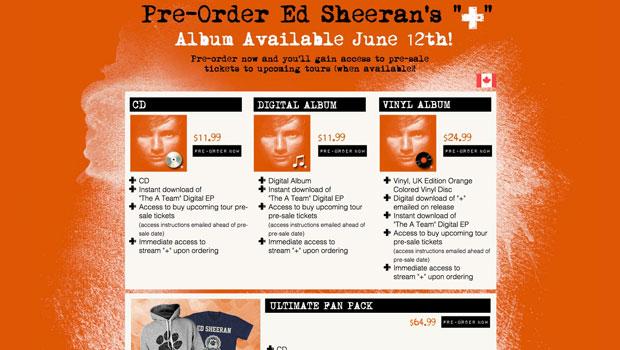 Ed Sheeran US Pre-Order Page