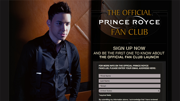 Prince Royce Fan Club Sign-Up